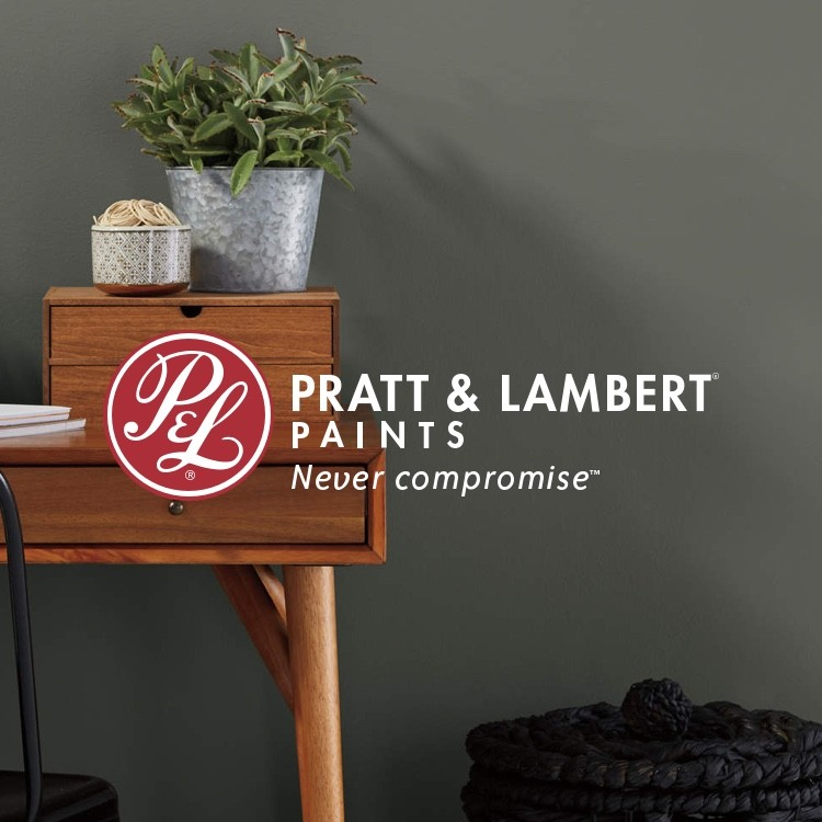 Pratt & Lambert painted room with wooden desk and logo