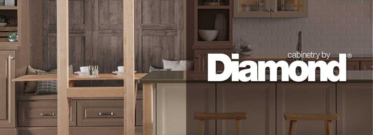 Diamond Cabinets logo with modern kitchen