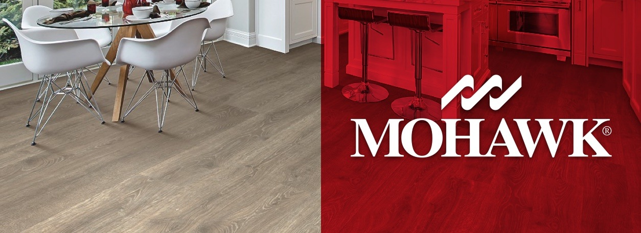 Mohawk flooring logo with light wood Mohawk floors in dining room