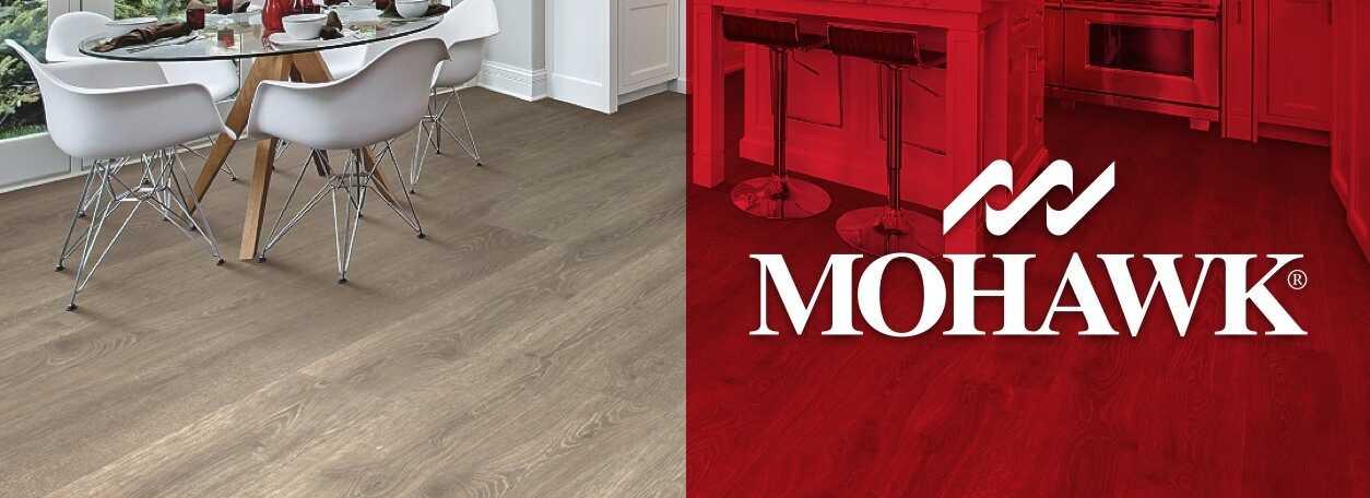 Mohawk flooring logo with light wood Mohawk floors in dining room