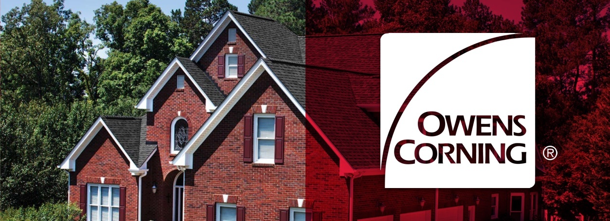 Owens Corning logo with roof in background