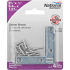 National Catalog 117 2-1/2 In. x 1/2 In. Zinc Flat Corner Iron (4-Count) Image 2