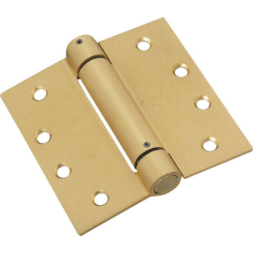 National 4 In. Square Satin Brass Spring Door Hinge