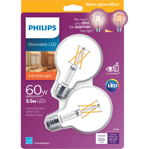 Philips Warm Glow 60W Equivalent Soft White G25 Medium Clear Dimmable LED Decorative Globe Light Bulb (2-Pack)