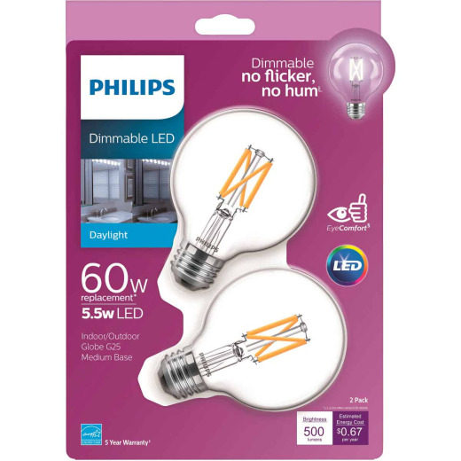 Philips Warm Glow 60W Equivalent Daylight G25 Medium Clear Dimmable Decorative Globe Light Bulb (2-Pack)
